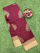 South kota saree maroon with simple border and body buttas