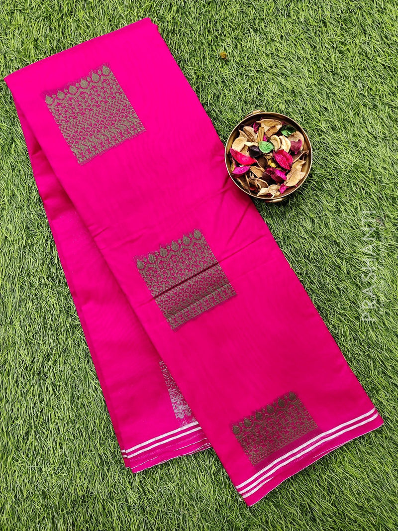 South kota saree hot pink with silver buttas and simple border