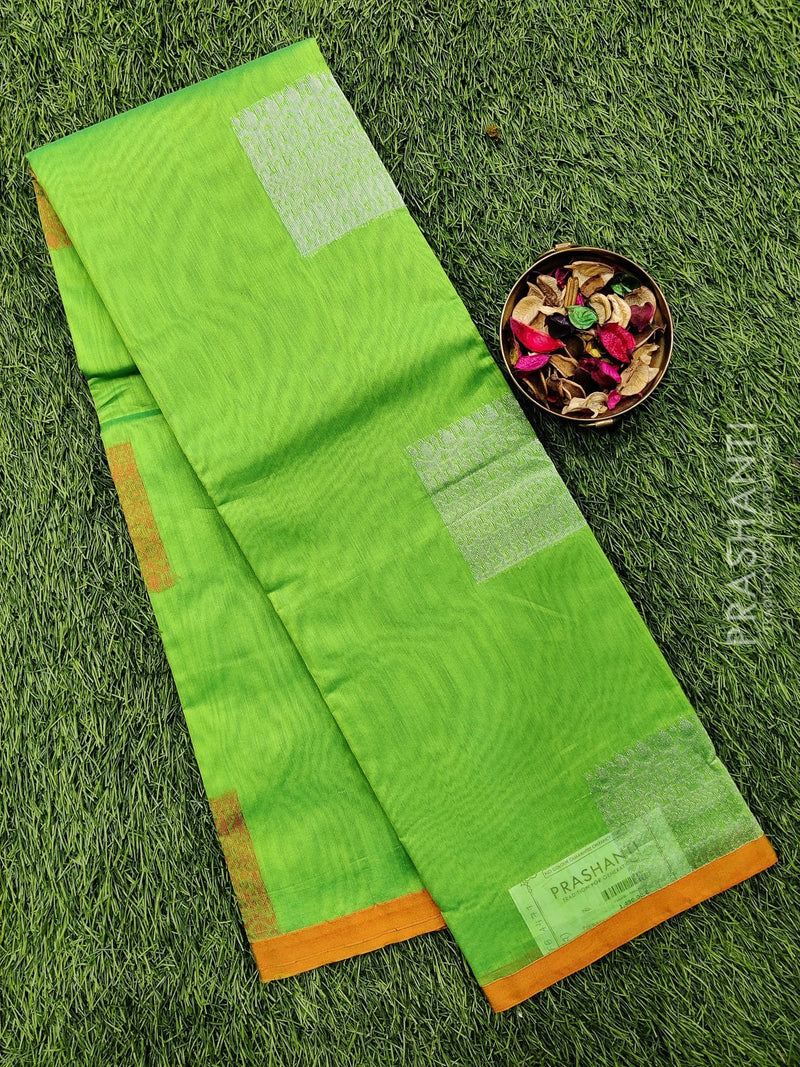 South kota saree light green and orange with silver buttas and simple border