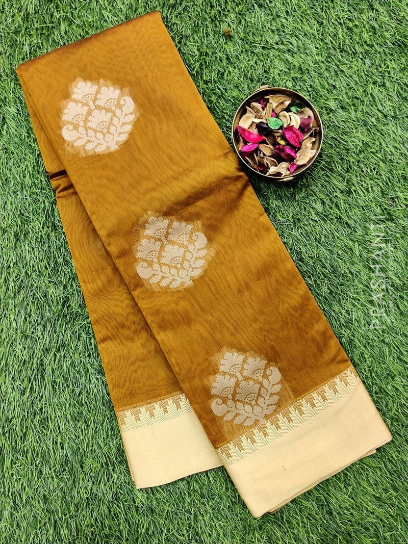 South kota saree mustard and beige with thread buttas and border