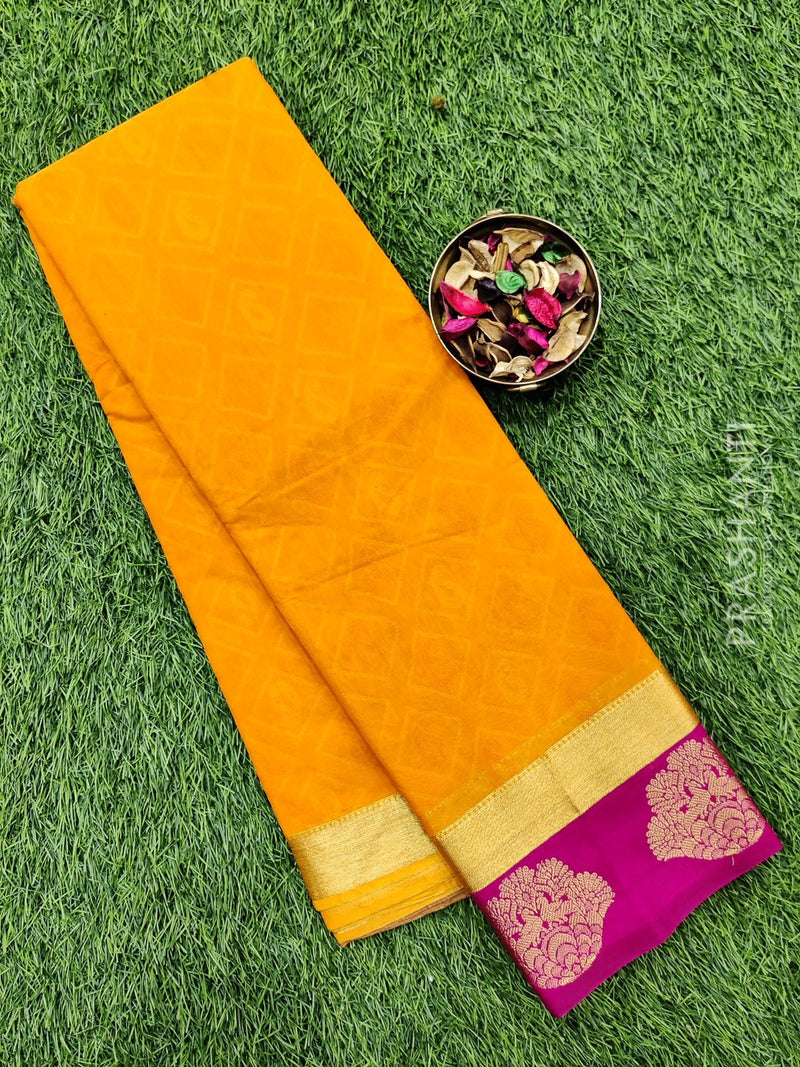 South kota saree yellow orange and pink with emboss and zari woven border