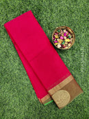 South kota saree tomato pink and green with emboss and zari woven border