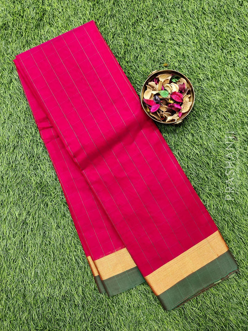 South kota saree yellow and pink with checked border and plain body