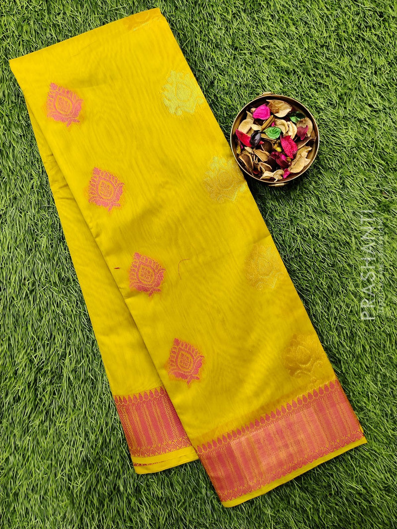 South kota saree lime green and pink with zari buttas and border