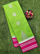 South kota saree green and pink with temple zari border and body buttas