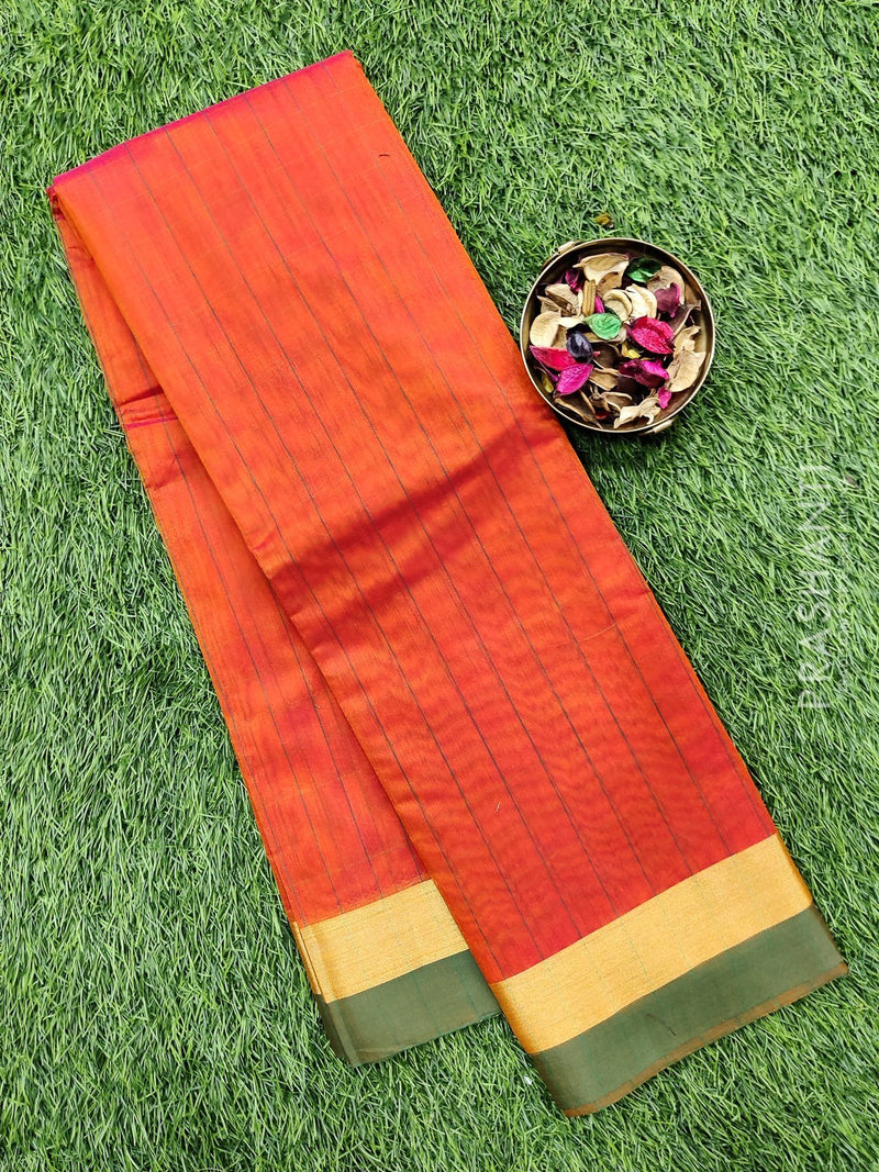 South kota saree rust orange and green with simple border and body checks