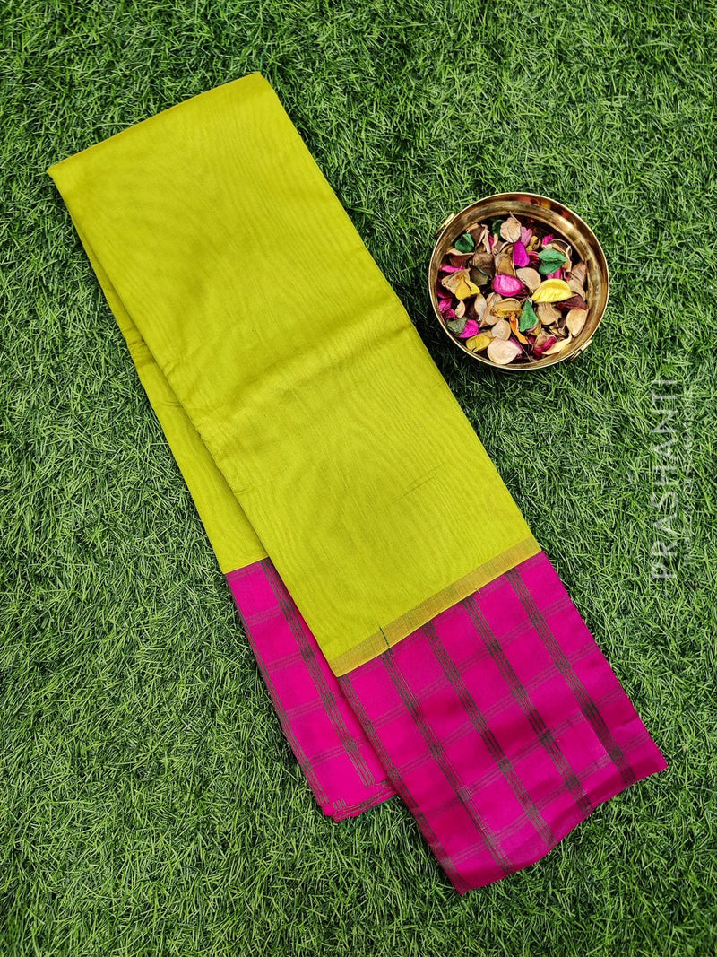 South kota saree lime green and pink with checked border