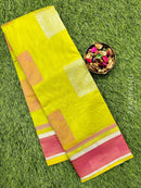 South kota saree light green and pink with simple border and body buttas