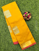 South kota saree yellow and pink with simple border and body buttas