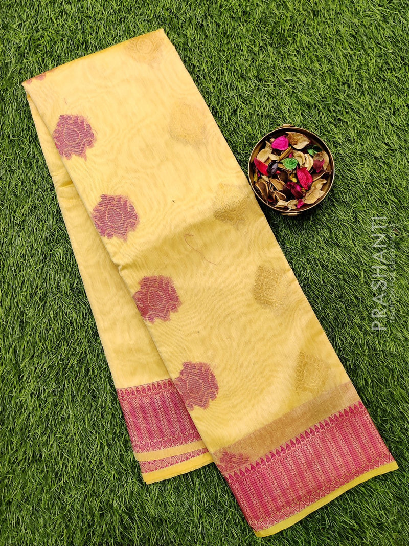 South kota saree sandal and pink with simple border and body buttas