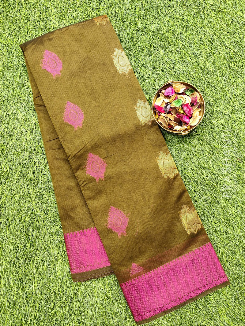 South kota saree mehandi green and pink with zari buttas and border