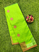 South kota saree parrot green and pink with pipping border and body buttas