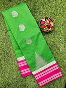 South kota saree green and pink with temple border and body buttas