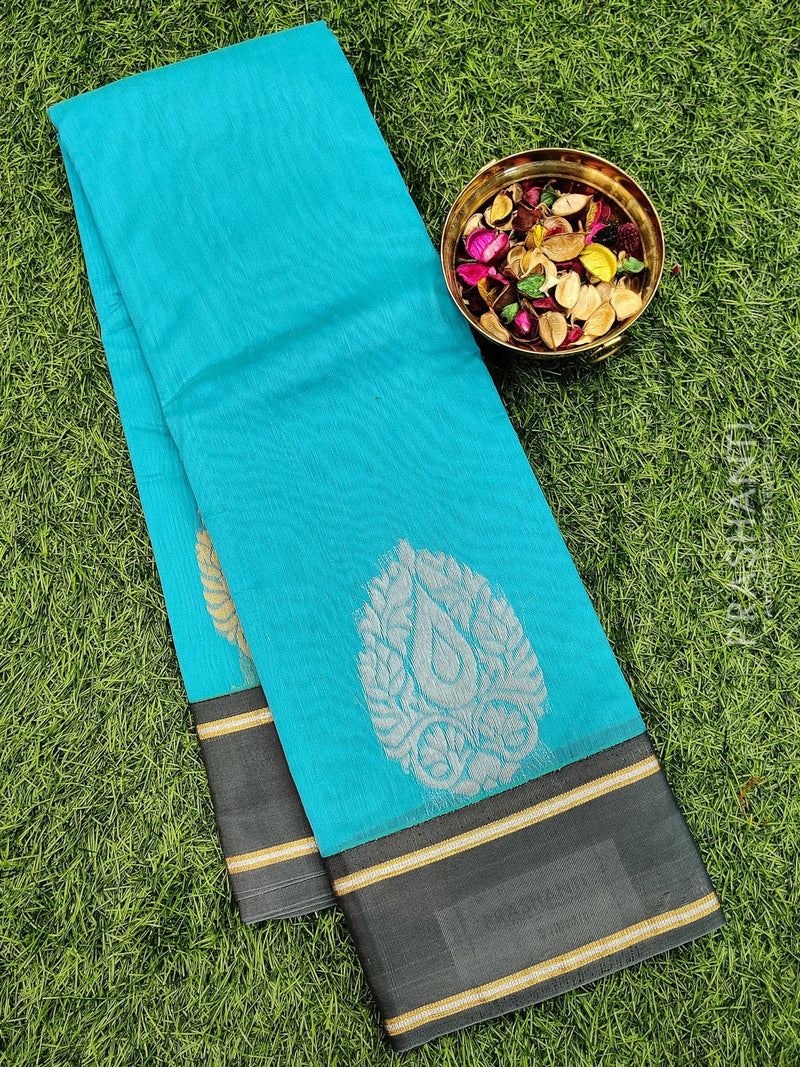 South kota saree cs blue and grey with thread buttas and border