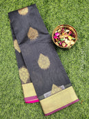 South kota saree grey and pink with kaddi zari border and body buttas