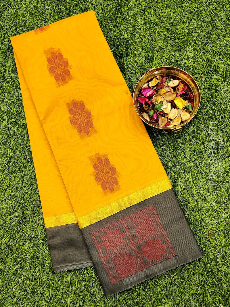 South kota saree yellow and grey with butta style border and body buttas