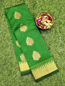 South kota saree dark green with temple zari border and zari buttas