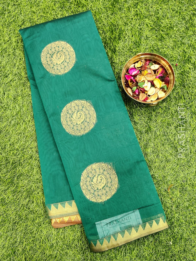 South kota saree peacock green body buttas in temple style border