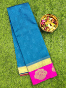 South kota saree peacock blue and pink with emboss and zari border