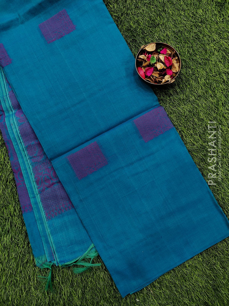 South kota saree turquoise blue with thread buttas and thread pallu