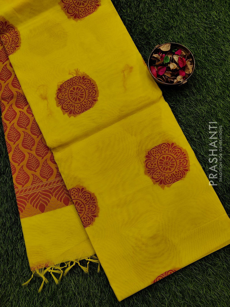 South kota saree yellow with thread buttas in borderless style