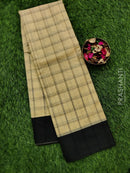 South kota saree cream and black with body checks and plain border