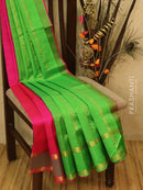 Silk cotton sarees pink and green with rettapet border