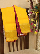Silk cotton sarees yellow and pink with rettapet border and zari buttas
