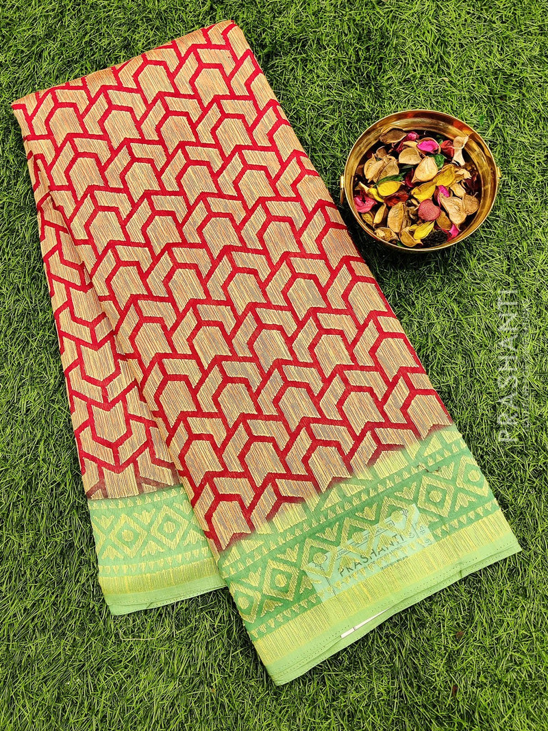 Brasso Saree red and teal green with geometric pattern