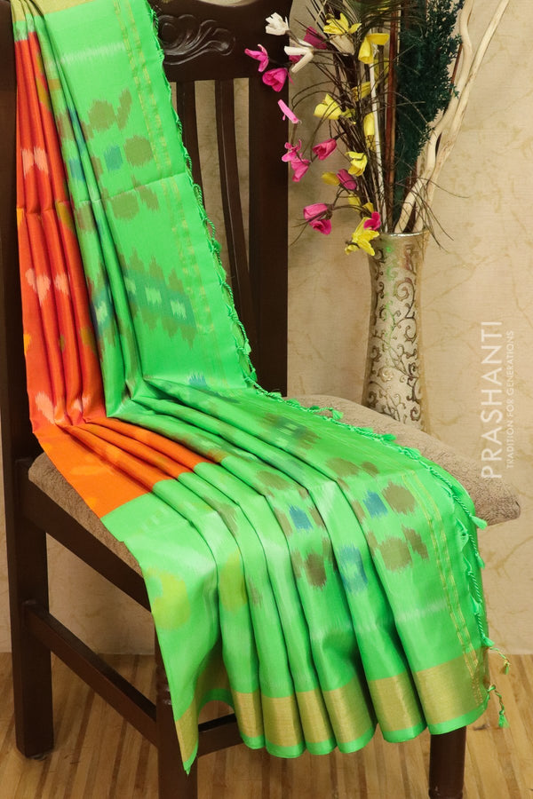 Ikkat soft silk saree peachish pink and teal green with kaddi zari border and ikkat weaves