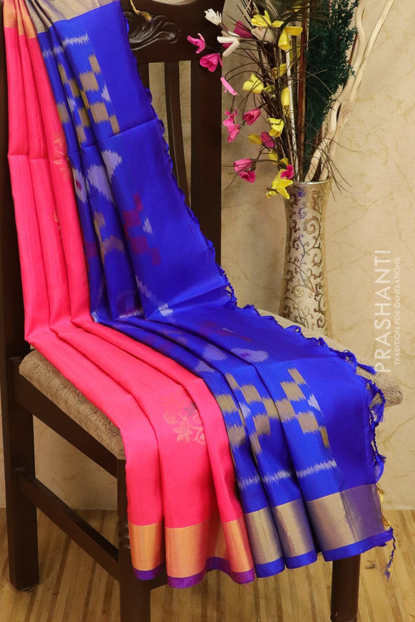 Ikkat soft silk saree pink and royal blue with kaddi zari border and ikkat weaves