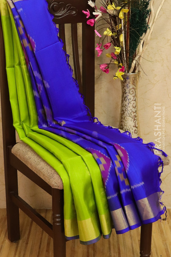 Ikkat soft silk saree green and royal blue with kaddi zari border and ikkat weaves