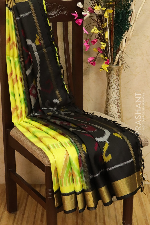 Ikkat soft silk saree lemon yellow and black with kaddi zari border and ikkat weaves