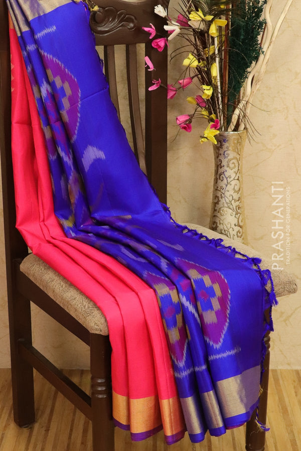 Ikkat soft silk saree candy pink and royal blue with kaddi zari border and ikkat weaves