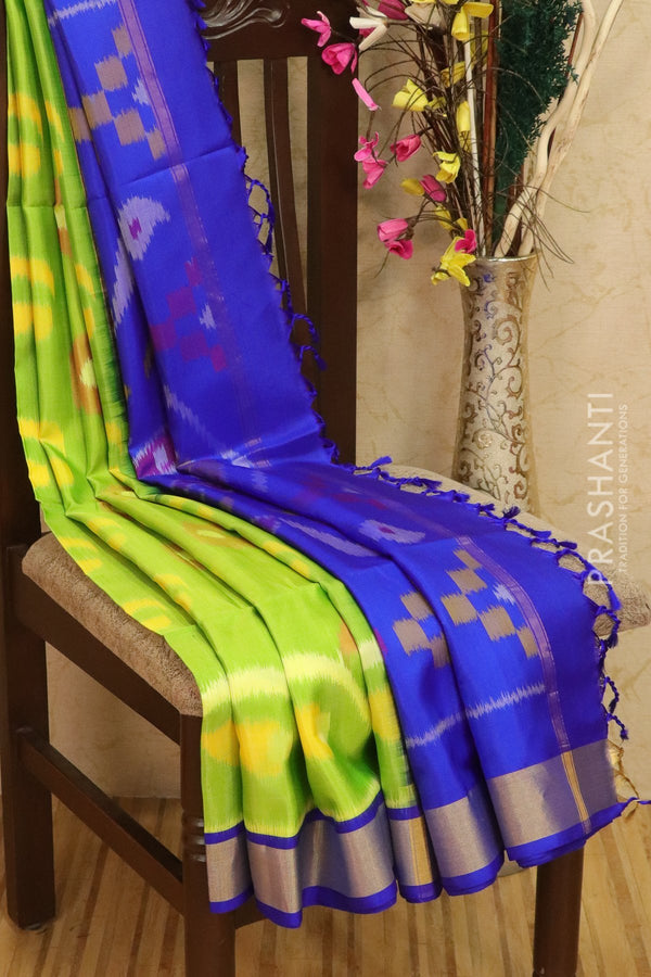 Ikkat soft silk saree lime green and royal blue with kaddi zari border and ikkat weaves