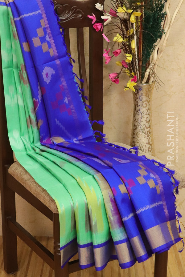 Ikkat soft silk saree pastel green and royal blue with kaddi zari border and ikkat weaves