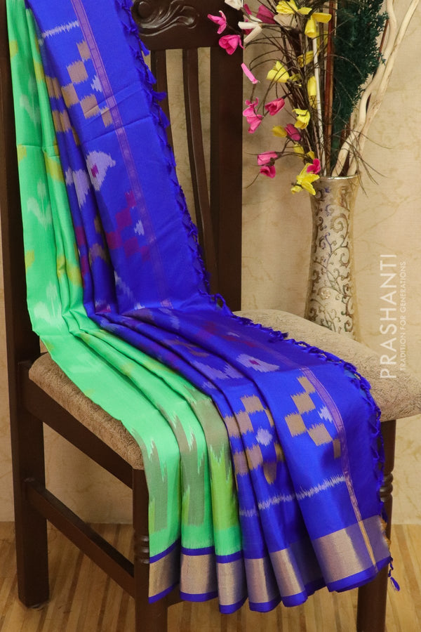 Ikkat soft silk saree teal green and royal blue with kaddi zari border and ikkat weaves
