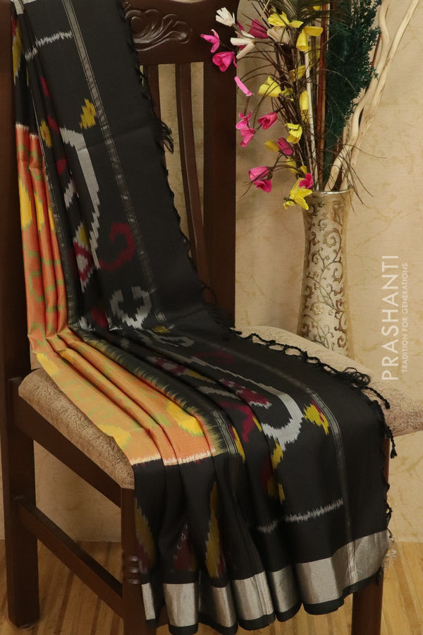 Ikkat soft silk saree beige and black with kaddi zari border and ikkat weaves