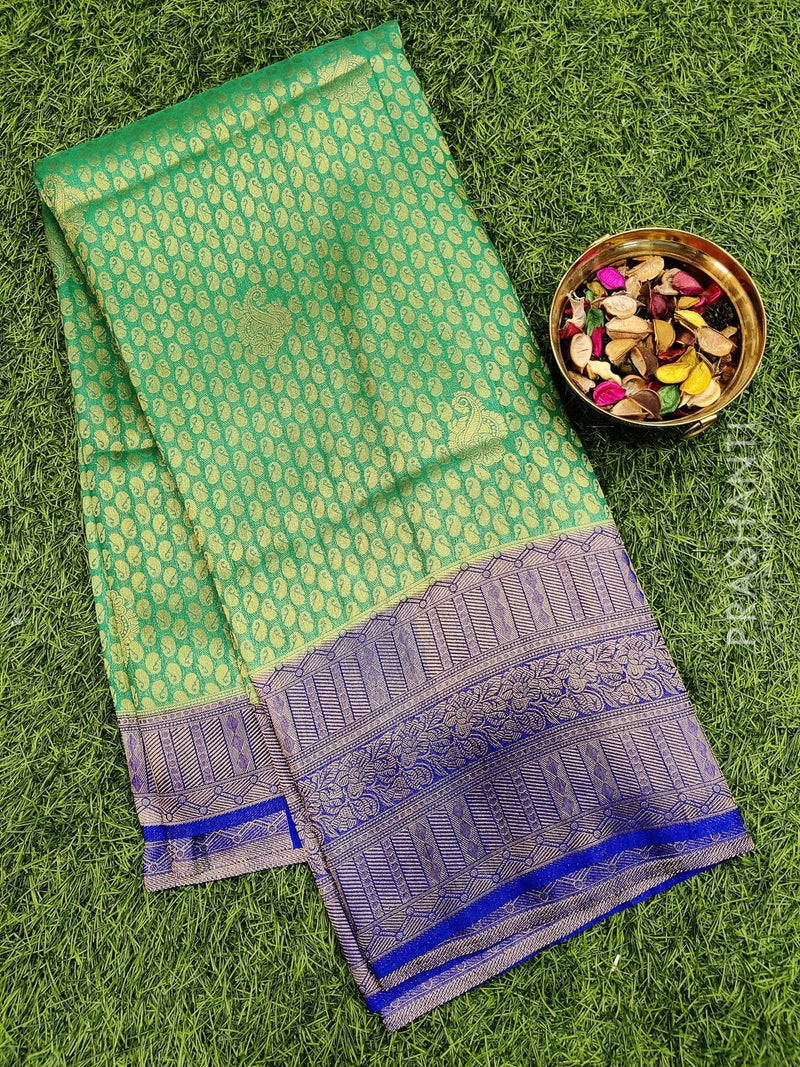 Banarasi semi silk saree green and blue with all over brocade weaves and banarasi border