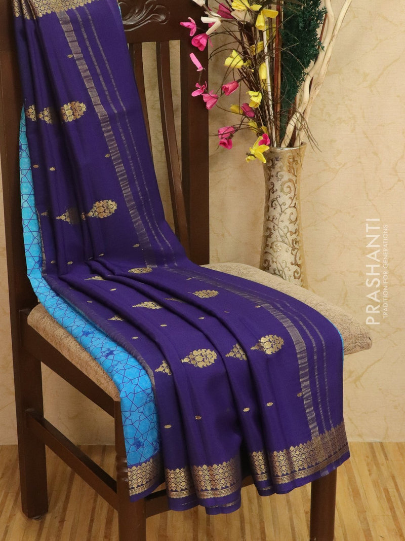 Pure Mysore Crepe silk saree blue and dark blue with allover prints and self emboss with golden zari border