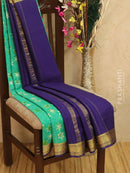 Pure Mysore Crepe silk saree sea green and blue with allover prints and golden zari border