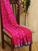 Pure Mysore Crepe silk saree rani pink and violet with allover prints and golden zari border