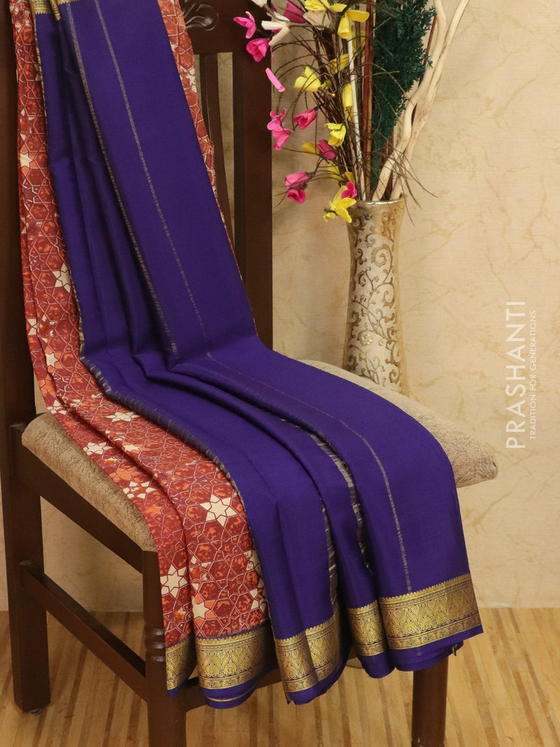 Pure Mysore Crepe silk saree brown and blue with allover prints and golden zari border