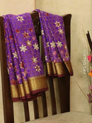 Pure Mysore Crepe silk saree violet and brown with allover prints and golden zari border