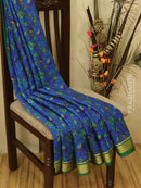Pure Mysore Crepe silk saree blue and green with allover prints and golden zari border
