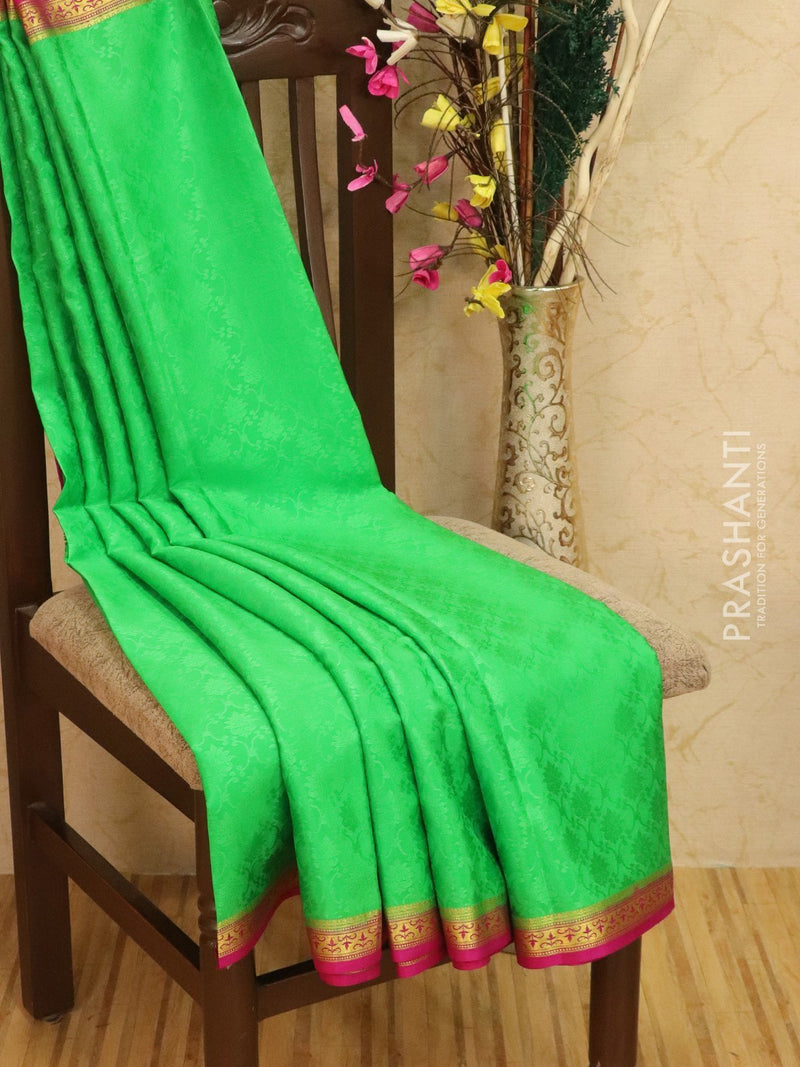 Pure Mysore Crepe silk saree green and pink with allover self emboss and rich zari border