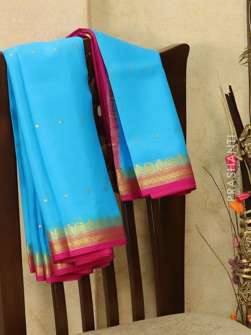 Pure Mysore Crepe silk saree blue and pink with zari woven buttas and rich border