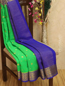 Pure Mysore Crepe silk saree green and blue with zari woven buttas and rich border