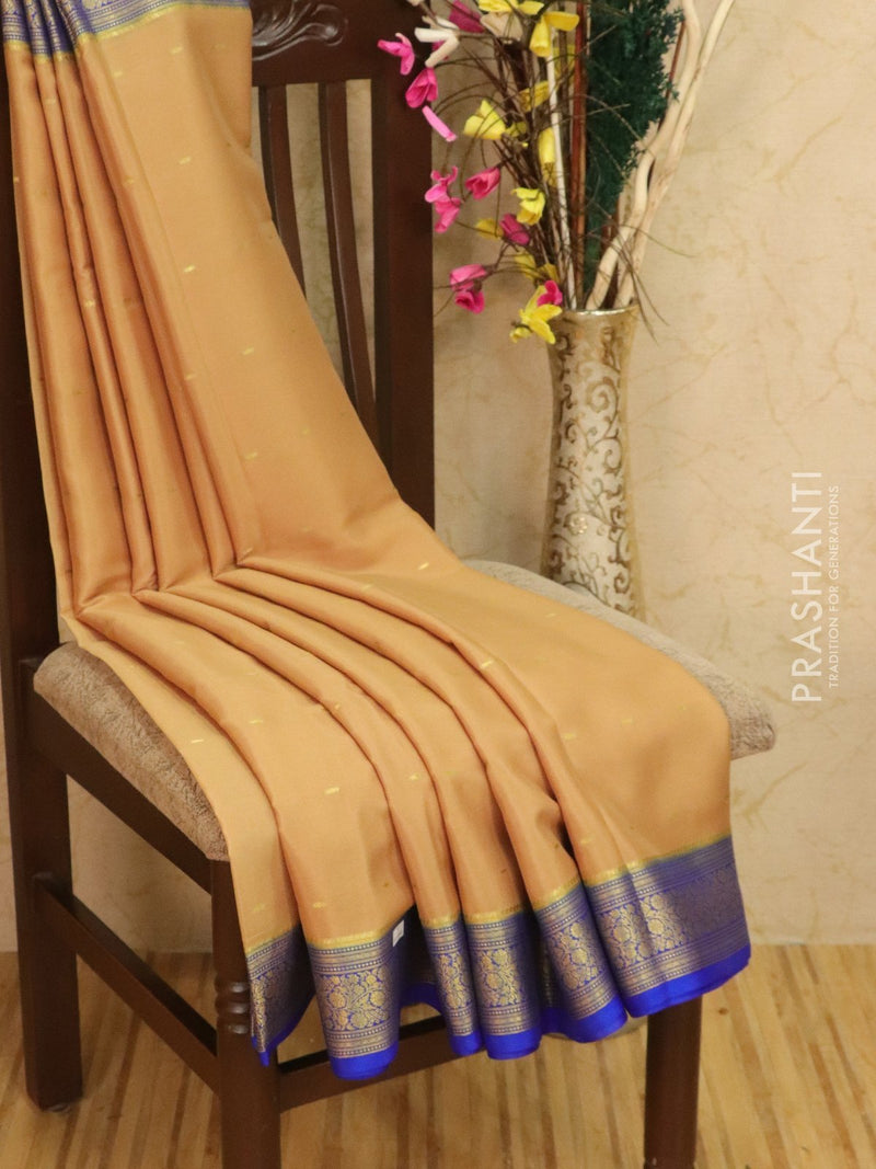 Pure Mysore Crepe silk saree beige and blue with zari woven buttas and rich border