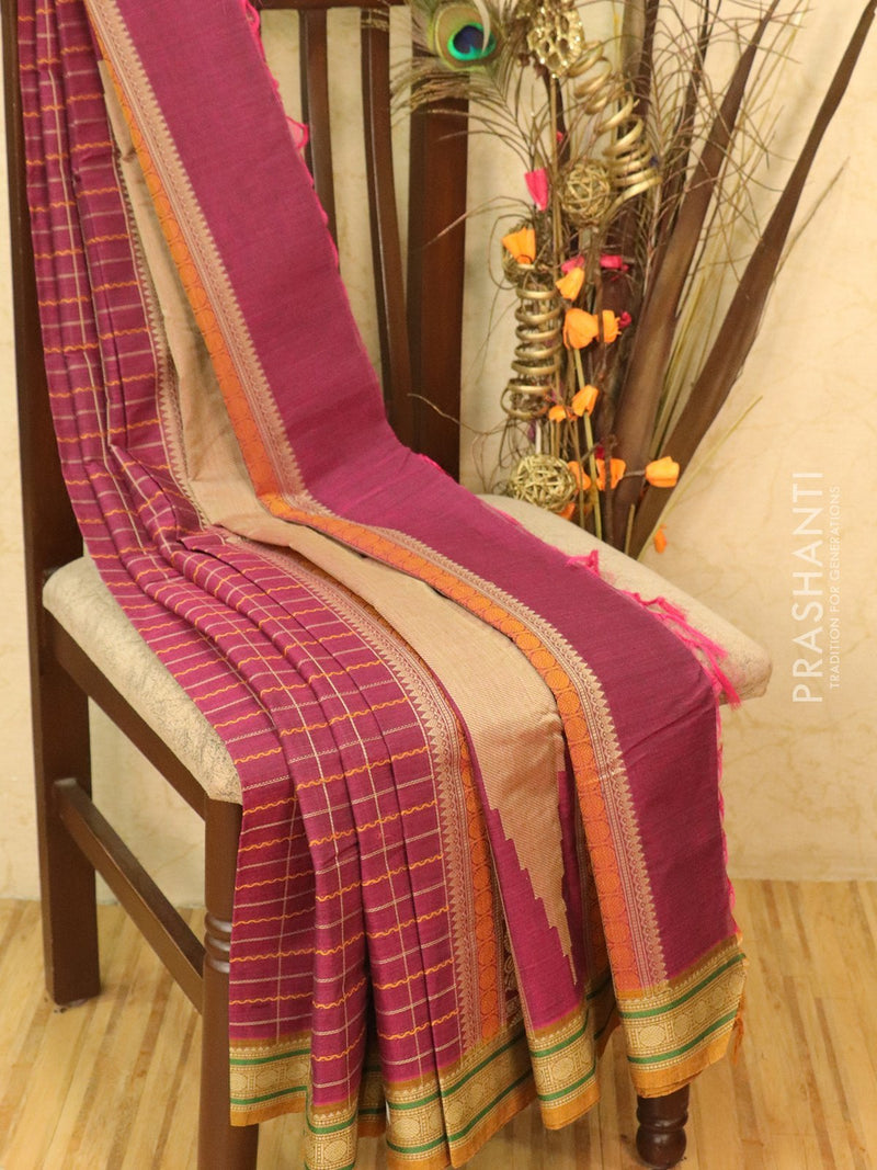 Pure Kanchi cotton saree magenta and mustard with rich thread woven body and kanchivaram border